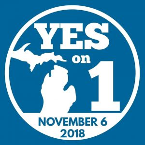 yes to Prop 1 logo, which was used to legalize adult-use marijuana in Michigan