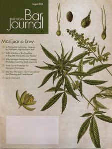 cover of the State Bar of Michigan's Journal about cannabis