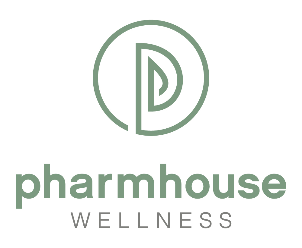 logo for PharmHouse Wellness, the name in green letters and a maze