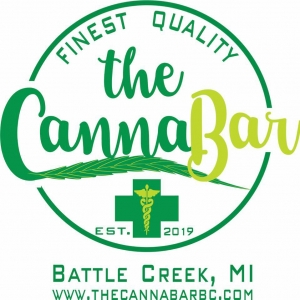 the cannabar logo which features a green cross and a marijuana leaf